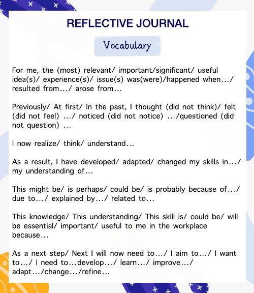 美国reflective journal词汇